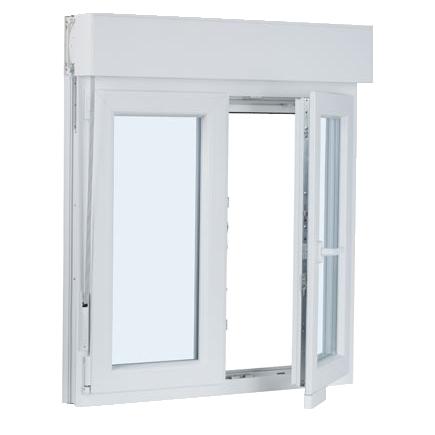 ventana PVC 2 hojas oscilo-abatible con persiana